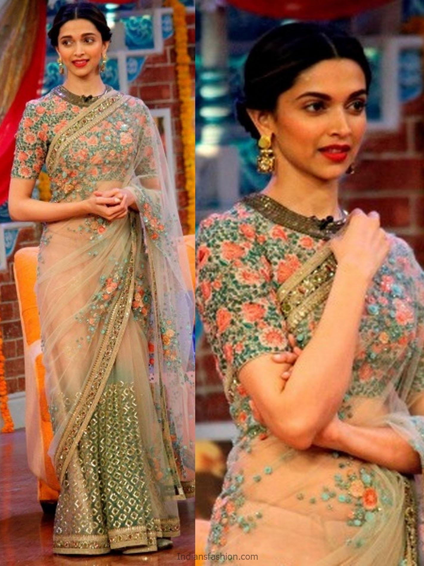 Indian Fashion Deepika Padukone Designer Saree Blouse