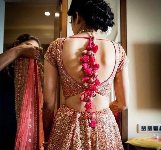 Latest Hair Style 2018 Attend Wedding Hair Tied Back: Bridal Lehenga Blouse: Neck & Back Design