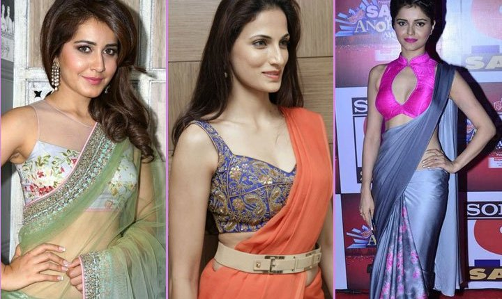 The three shimmering beauties are wearing three different looks which you might like to try. The first one is the floral high neck blouse with Net which makes look extremely gorgeous. The second look is the modish sleeveless blouse which can be carried to any party or event. The third is debina's blouse which is a stand collar blouse with front Anne neck or pearl drop neck which is very unique.