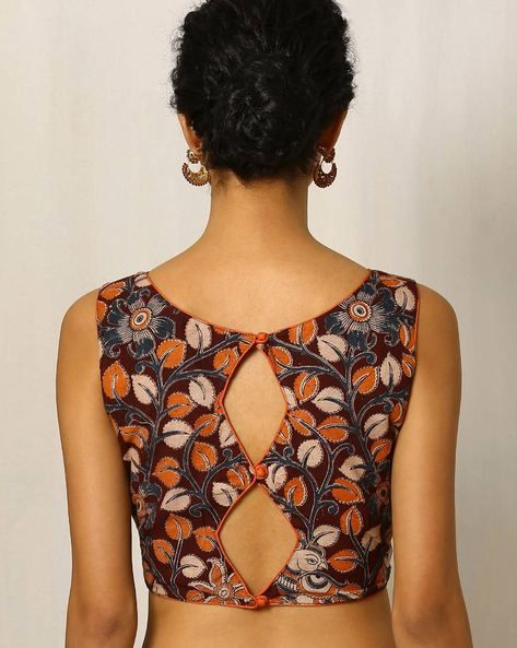 This is a two buttoned motif blouse instead of one motif which makes it appear more unique and the comfort level is the highest as it is a cotton blouse
