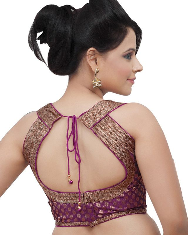 This is a razor neck blouse with a stylish back tied with a knot. they are very charming and the back and neck part is covered with golden lace which gives it a stunning look.
