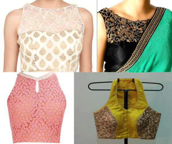 In this picture the first two blouses are high neck sleeveless blouse one with self-print net and golden work and another with golden embroidery on a black bloise. Both the design are luring in it's own way when paired correctly. The other two blouses are razor cut high neck blouses in which the the first one is a pink with white self-print design and a small pearl necklace and the other one is a heavy razor cut blouse with golden embroidery and a deep neck.