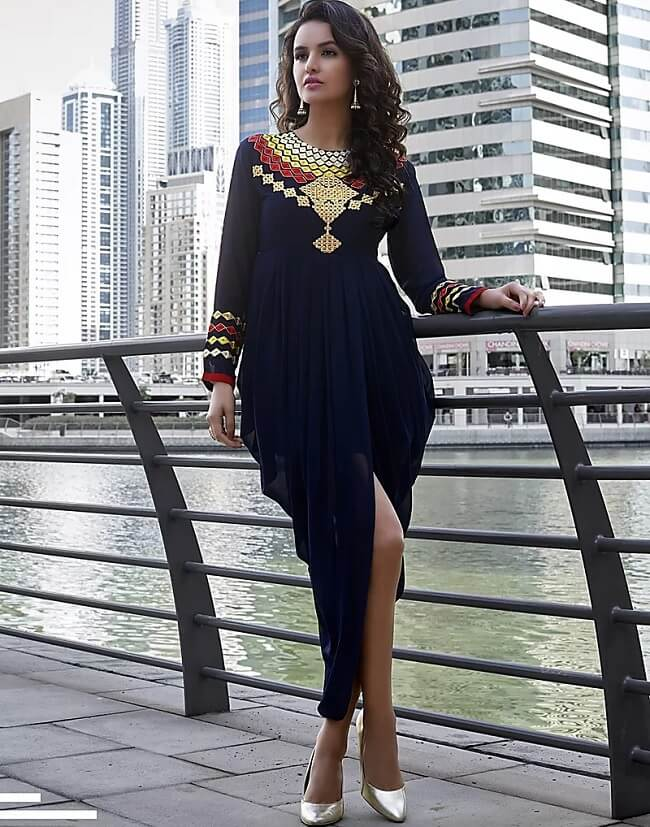 With the dynamic world, fashion is evolving on a tremendous rate. the dhoti style kurtis are very popluar among girls. these are snug and voguish and make you look eccentric among all. Petitie girls should avoid this style whereas tall girls can slay this style.