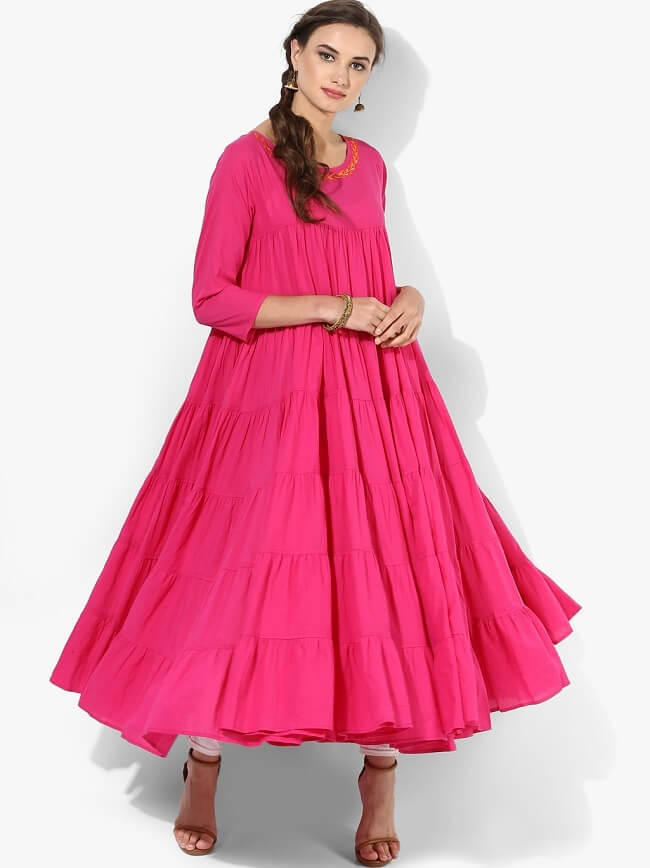 If you too slim and findind a way to look good in kurtis you should go for the flare kurti atleast once it wont dissappoint you. just chose the apt size. t te snout girls should avoid them completely it will make you look more smaller.