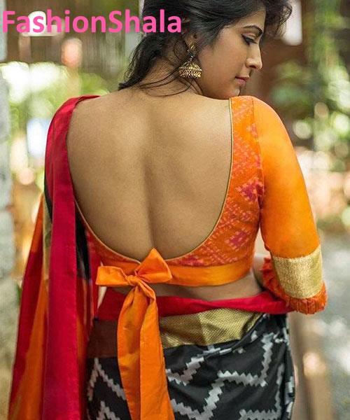 Trendy Blouse Back Neck Designs For Cotton Saree Blouses 9