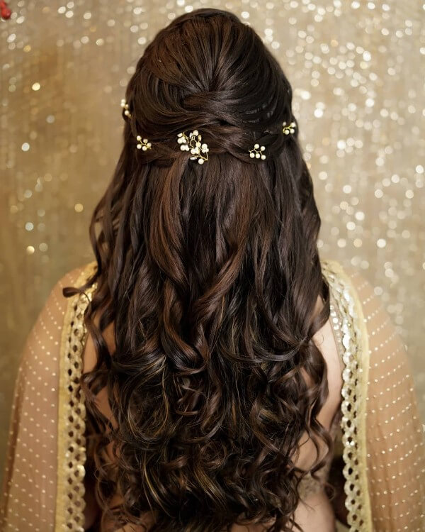 A subtle hairstyle with minimal hair jewellery