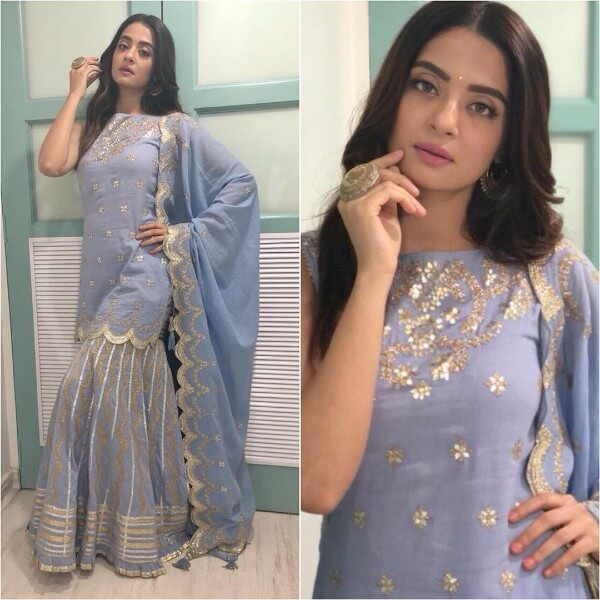 Blue sharara with floral details