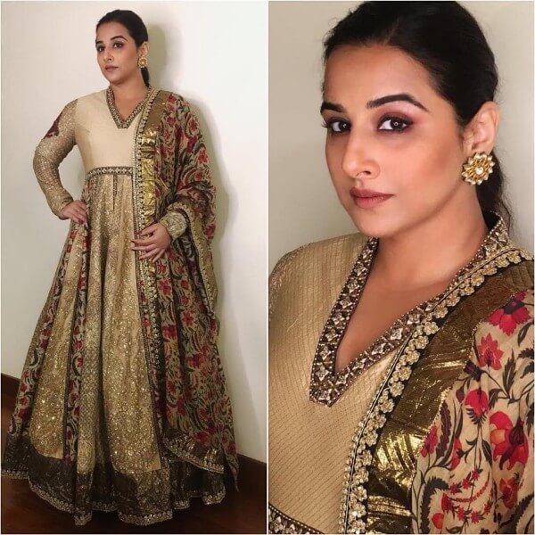 Vidya Balan in golden anarkali dress