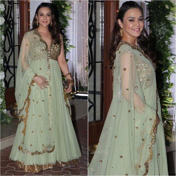 Preity Zinta in green anarkali dress