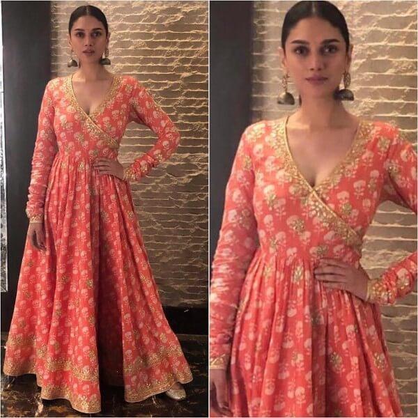 Aditi Rao in orange anarkali dress
