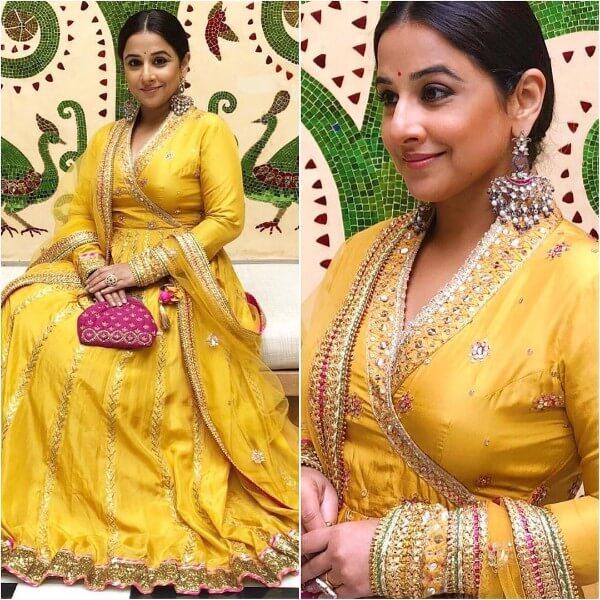 Vidya Balan in yellow anarkali suit